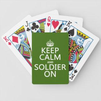 Behalten Sie Ruhe und Soldaten auf (irgendeine Bicycle Spielkarten
