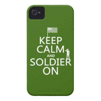 Behalten Sie Ruhe und Soldaten auf (US-Flagge) iPhone 4 Cover