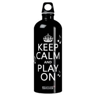 Behalten Sie Ruhe und Spiel an - Musiknoten - alle Aluminiumwasserflasche
