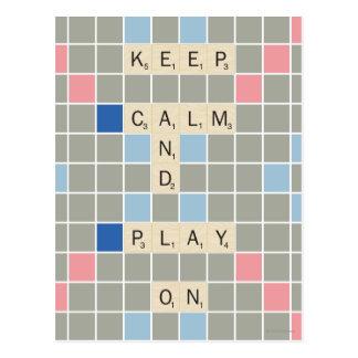 Behalten Sie Ruhe und Spiel an Postkarte