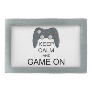 Behalten Sie Ruhe und Spiel AN Rechteckige Gürtelschnalle