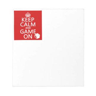 Behalten Sie Ruhe und Spiel an - Würfel - alle Notizblock