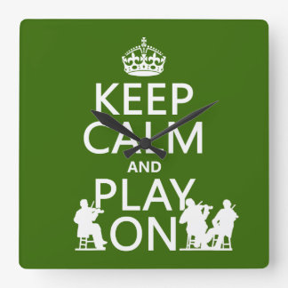 Behalten Sie Ruhe und Spiel auf (aufgereihte Quadratische Wanduhr