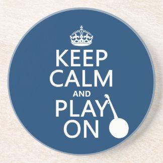 Behalten Sie Ruhe und Spiel auf (Banjo) Sandstein Untersetzer