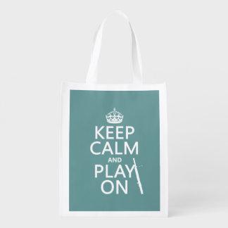 Behalten Sie Ruhe und Spiel auf (Bassoon) Wiederverwendbare Einkaufstasche