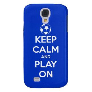 Behalten Sie Ruhe und Spiel auf Blau Galaxy S4 Hülle