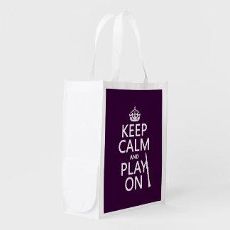Behalten Sie Ruhe und Spiel auf (Clarinet) Wiederverwendbare Einkaufstasche