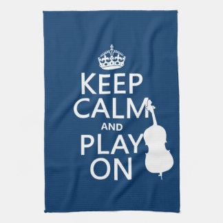 Behalten Sie Ruhe und Spiel auf (doppelter Baß) Geschirrtuch