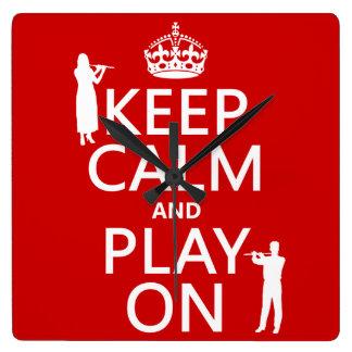 Behalten Sie Ruhe und Spiel auf (Flöte) (irgendein Quadratische Wanduhr