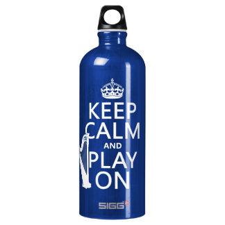 Behalten Sie Ruhe und Spiel auf (Harfe) Aluminiumwasserflasche