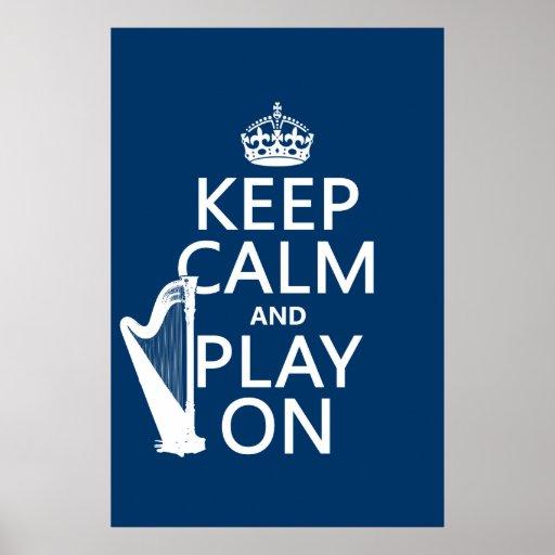 Behalten Sie Ruhe und Spiel auf (Harfe) (irgendein Plakatdrucke