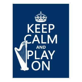 Behalten Sie Ruhe und Spiel auf (Harfe) Postkarte