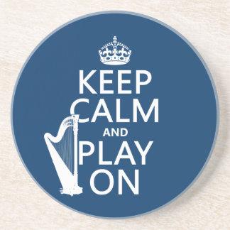 Behalten Sie Ruhe und Spiel auf (Harfe) Sandstein Untersetzer