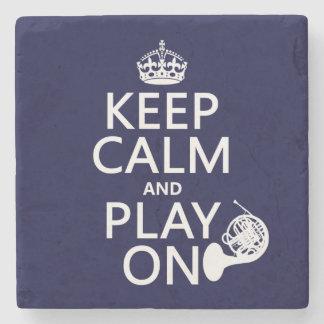Behalten Sie Ruhe und Spiel auf (Horn) (irgendeine Steinuntersetzer