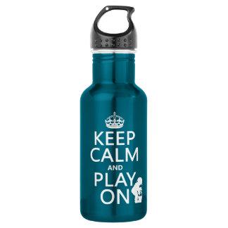 Behalten Sie Ruhe und Spiel auf (irgendeine Farbe) Trinkflasche
