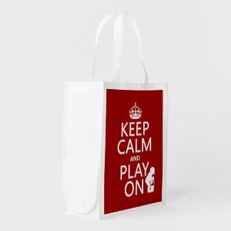 Behalten Sie Ruhe und Spiel auf (irgendeine Farbe) Wiederverwendbare Einkaufstasche