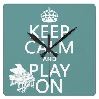 Behalten Sie Ruhe und Spiel auf (Klavier) Quadratische Wanduhr
