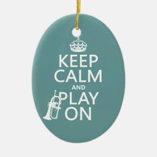 Behalten Sie Ruhe und Spiel auf (Kornett) Keramik Ornament