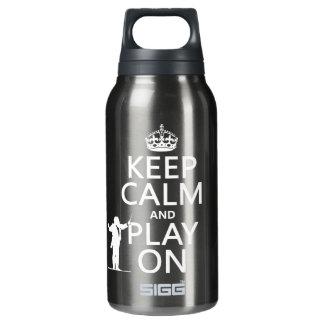 Behalten Sie Ruhe und Spiel auf (Leiter) Isolierte Flasche