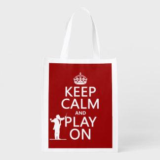 Behalten Sie Ruhe und Spiel auf (Leiter) Wiederverwendbare Einkaufstasche