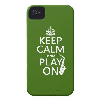 Behalten Sie Ruhe und Spiel auf (Saxophone) iPhone 4 Hülle