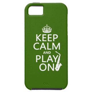 Behalten Sie Ruhe und Spiel auf (Saxophone) iPhone 5 Etuis