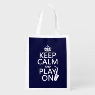 Behalten Sie Ruhe und Spiel auf (Saxophone) Wiederverwendbare Einkaufstasche