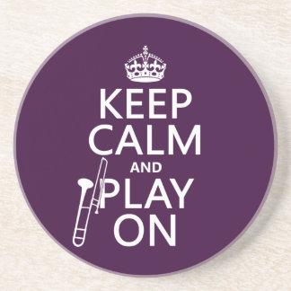 Behalten Sie Ruhe und Spiel auf (Trombone) Getränkeuntersetzer