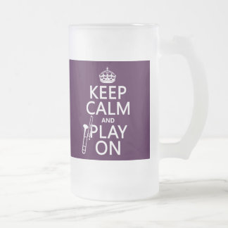 Behalten Sie Ruhe und Spiel auf (Trombone) Mattglas Bierglas