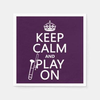 Behalten Sie Ruhe und Spiel auf (Trombone) Serviette