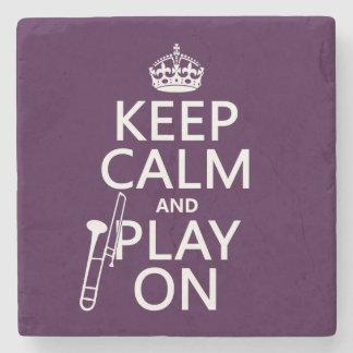 Behalten Sie Ruhe und Spiel auf (Trombone) Steinuntersetzer