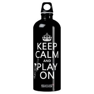 Behalten Sie Ruhe und Spiel auf (Trombone) Wasserflasche