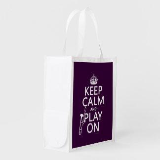 Behalten Sie Ruhe und Spiel auf (Trombone) Wiederverwendbare Einkaufstasche