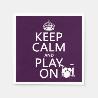 Behalten Sie Ruhe und Spiel auf (Trommeln) Servietten