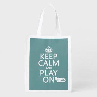 Behalten Sie Ruhe und Spiel auf (Tuba) (irgendeine Wiederverwendbare Einkaufstasche
