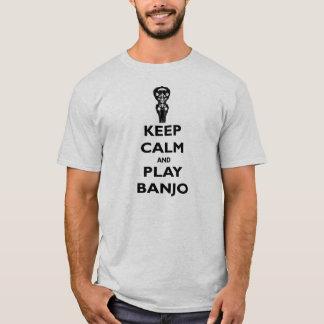 Behalten Sie Ruhe-und Spiel-Banjo-T-Stück T-Shirt
