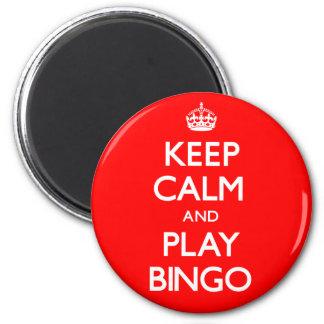 Behalten Sie Ruhe-und Spiel-Bingo (machen Sie) Runder Magnet 5,7 Cm