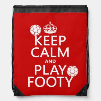 Behalten Sie Ruhe und Spiel Footy (Fußball) Sportbeutel