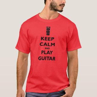 Behalten Sie Ruhe-und Spiel-Gitarren-T-Stück T-Shirt