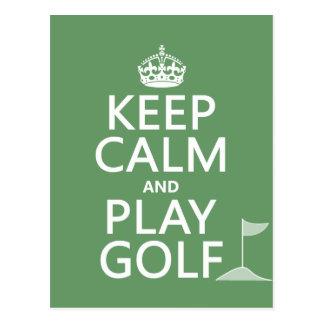 Behalten Sie Ruhe-und Spiel-Golf - alle Farben Postkarte