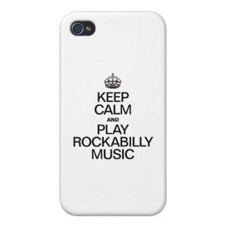 BEHALTEN SIE RUHE UND SPIEL-ROCKABILLY MUSIK iPhone 4 COVER