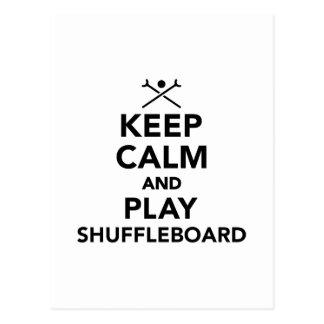 Behalten Sie Ruhe und Spiel Shuffleboard Postkarte