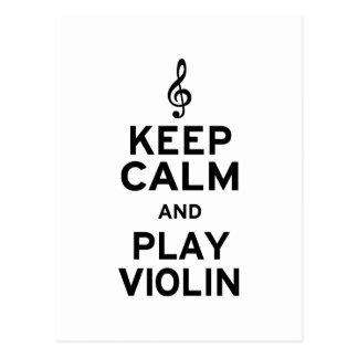 Behalten Sie Ruhe-und Spiel-Violine Postkarte