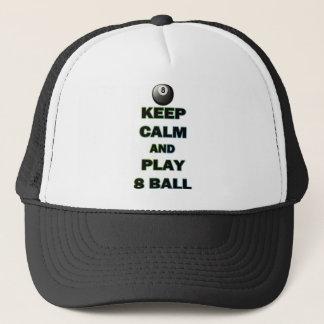 Behalten Sie Ruhe und spielen Sie Ball 8 Truckerkappe