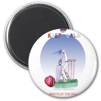 behalten Sie Ruhe und spielen Sie den Ball, tony Runder Magnet 5,1 Cm