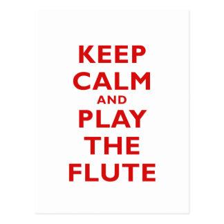 Behalten Sie Ruhe und spielen Sie die Flöte Postkarte