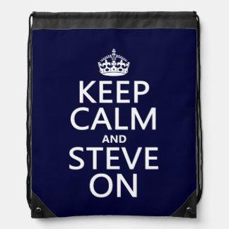 Behalten Sie Ruhe und Steve auf (irgendeine Farbe) Turnbeutel