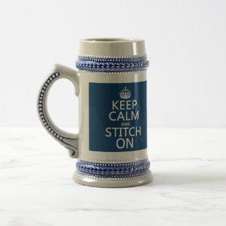 Behalten Sie Ruhe und Stich auf (alle Farben) Bierglas