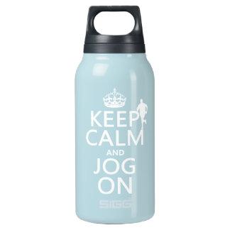 Behalten Sie Ruhe und Stoß an Isolierte Flasche