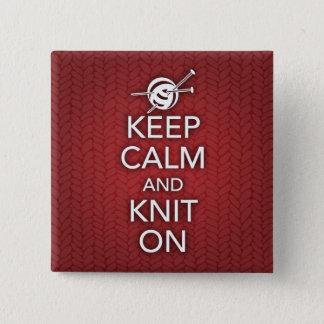 Behalten Sie Ruhe und Strick auf Knopf Quadratischer Button 5,1 Cm